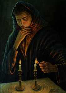 No. 12  Portrait Lighting Shabbat Candles-copyright