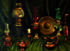 No. 3  Still Life Lamps, Copper Urns and Cloth Table-copyright