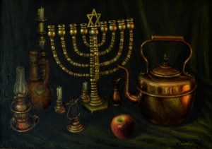 No. 50  Still Life Copper Menorah with Apple-copyright