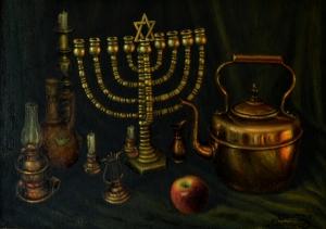 No. 50  Still Life Copper Menorah with Apple-copyright