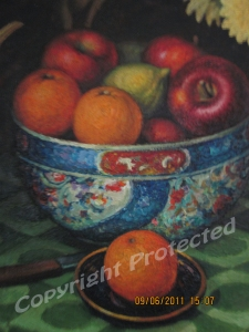 Still life with oranges and flowers-detail