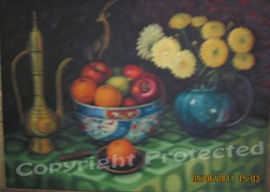 Still life with oranges and flowers