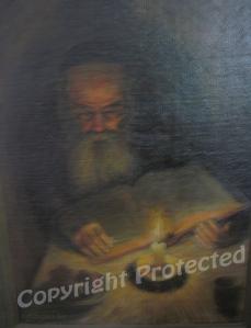 Old Rabbi studying at night, Poland 1948